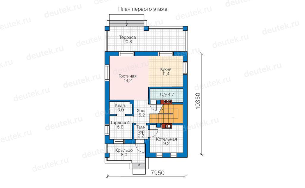 Проект дома проект простого дома из пеноблоков с балконом, т.