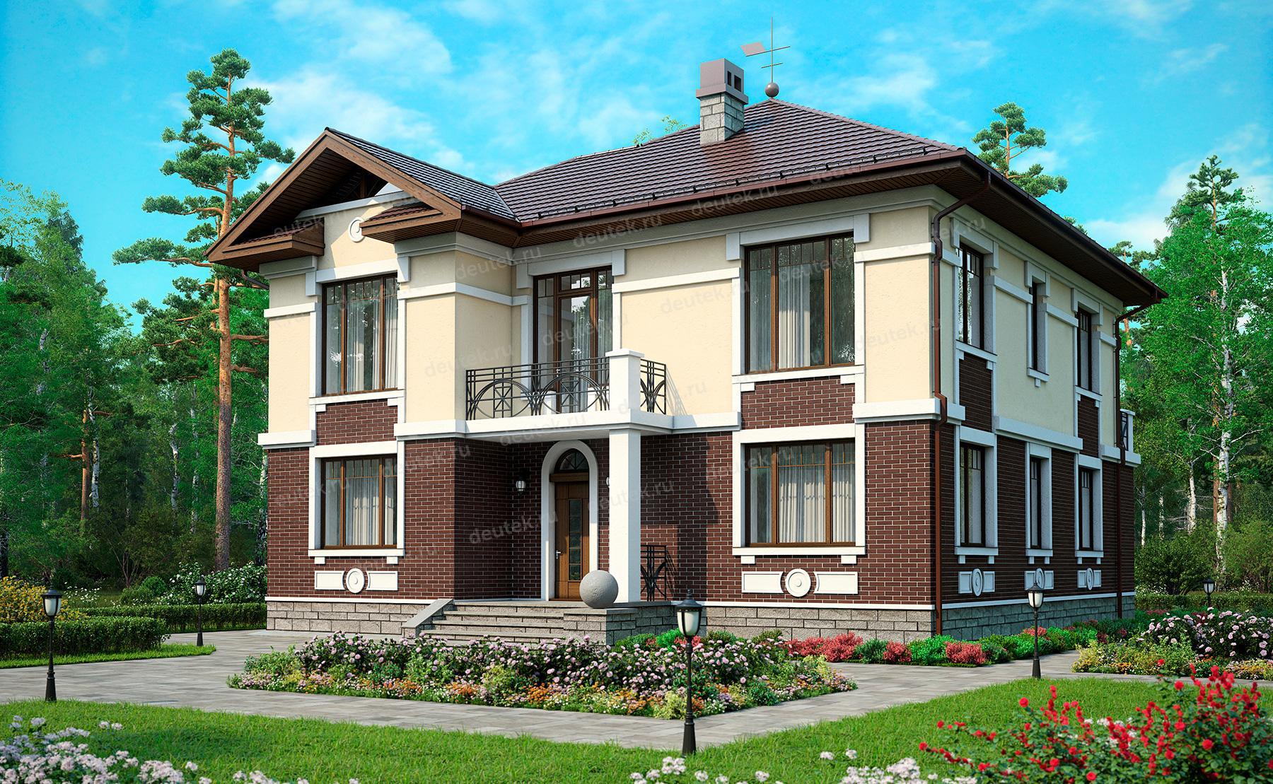 Проект двухэтажного дома из газобетона с цокольным этажом dt.