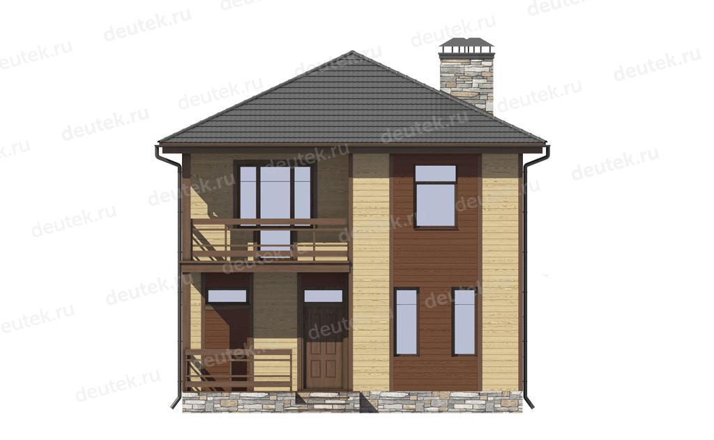 Проект загородного дома 8 на 10 с балконом и террасой dt0005.