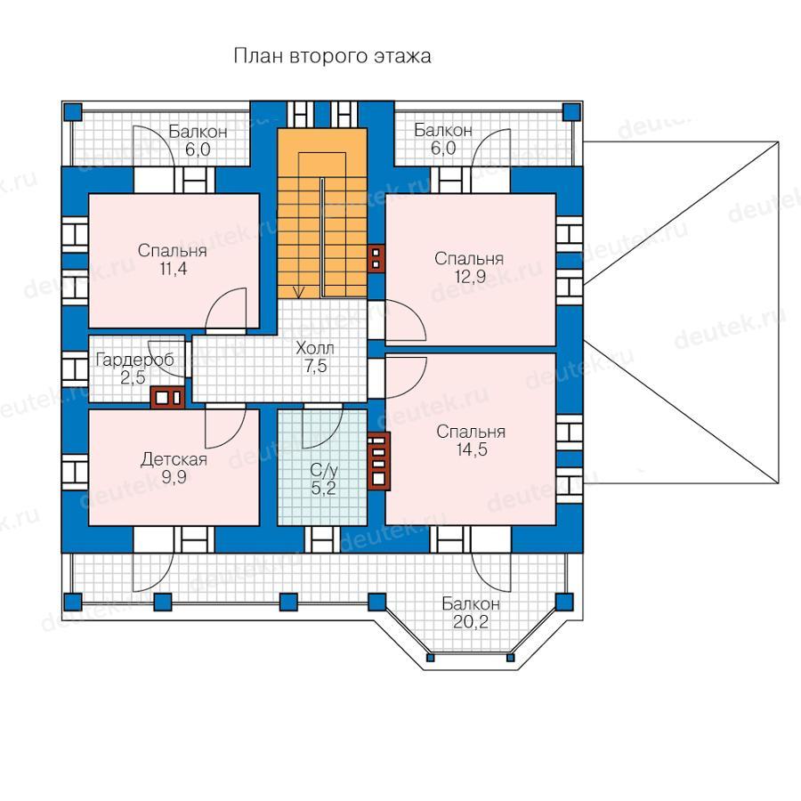 Проект дома 11 на 12 c крытым балконом над террасой до 150 к.