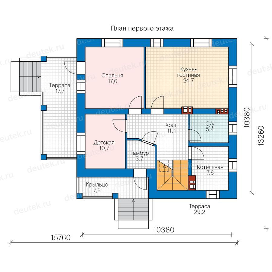 Проекты двухэтажных домов 10 на 10 м | 900x900