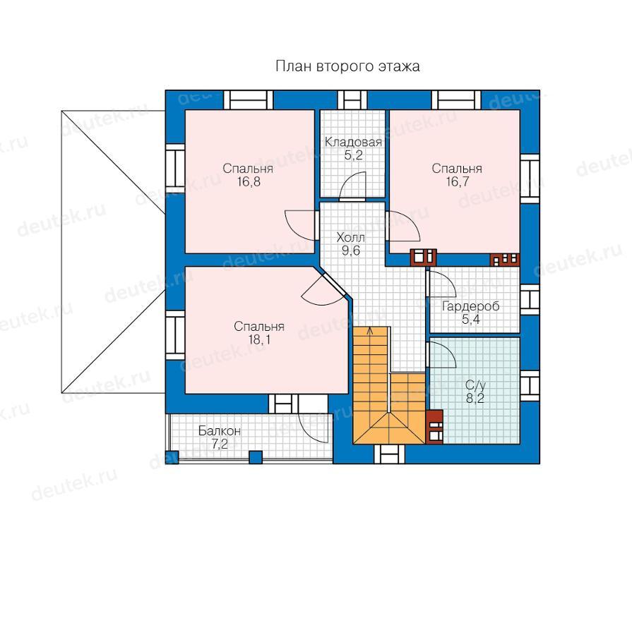Проекты домов 10 на 10 из кирпича, дом 10х10 м из кирпича | 900x895