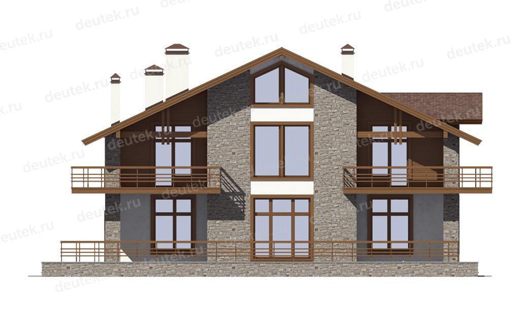 Проект дома шале с двумя балконами, сауной и большой террасо.